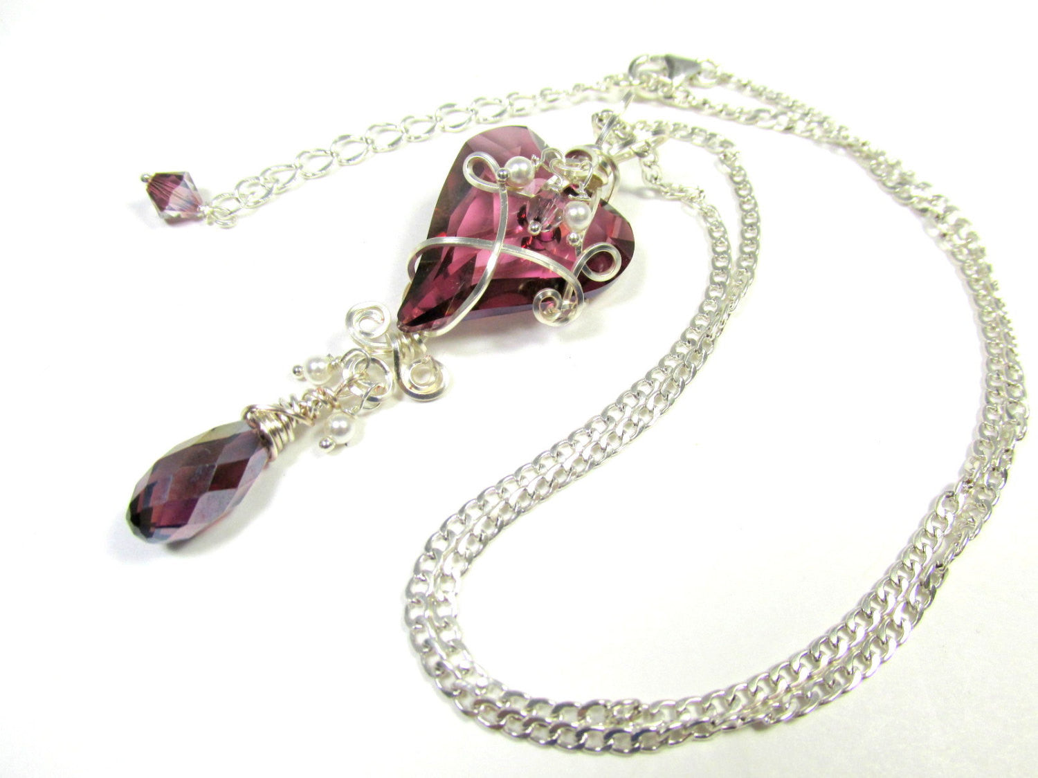 Swarovski Plum Purple Lilac Shadow Wire Wrapped Wild Heart Necklace and Earring Set in Sterling Silver - Odyssey Creations