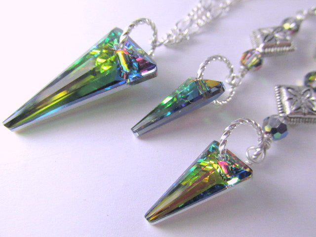 Swarovski Vitrail Medium Daggers Necklace and Earring Set on Silver - Odyssey Creations