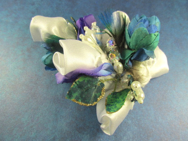 Hair Fascinator in Aqua Turquoise, Purple and White Pearl Accents ready to ship - Odyssey Creations