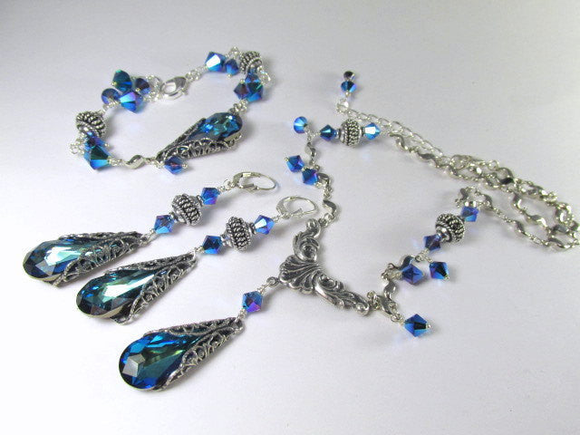 Bermuda Blue Teardrops Swarovski Vintage Style Necklace and Earring Set on Silver - Odyssey Creations