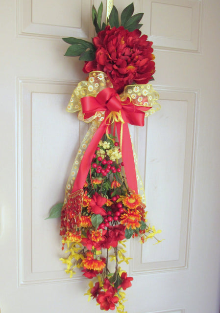 Colorful Red and Yellow Beaded Victorian Vertical Door or Wall Swag - Odyssey Creations
