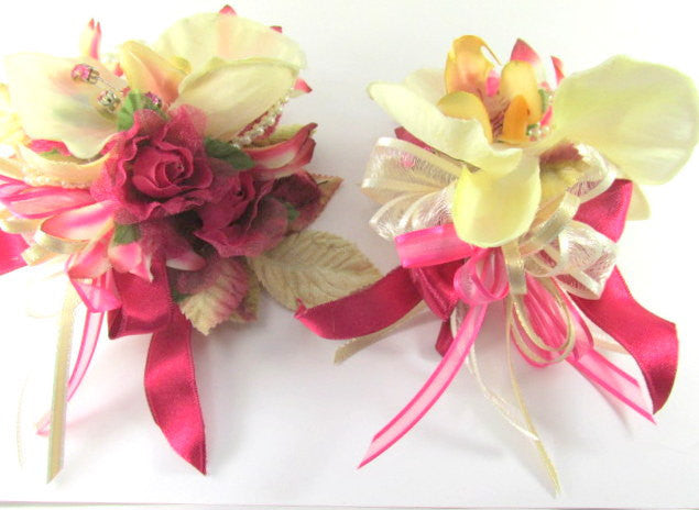 Ivory Cymbidium Orchids and Rose Lilies and Roses Pearl Bracelet Wrist Corsage and Boutonierre Prom or Homecoming Set ready to ship - Odyssey Creations