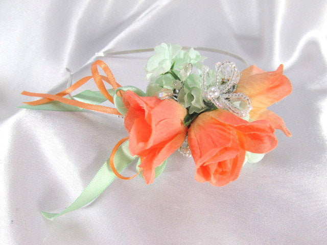 Peach and Mint Silk Flower and Silver Filigree Metal Headband - Odyssey Creations