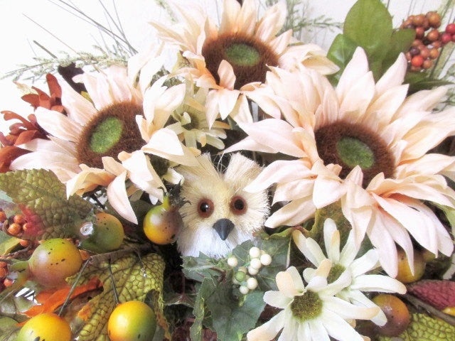 Owl and Sunflower Fall or Autumn Silk Floral Arrangement - Odyssey Creations