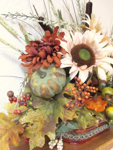 Owl Autumn Fall Floral Arrangement in earthy tones of beige brown sunflowers, green and rust berries & pumpkin gold grass - Odyssey Creations