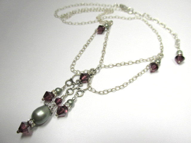 Victorian Style Necklace and Earring Set in Swarovski Amethyst Crystals and Powder Green Pearls - Odyssey Creations