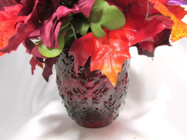 Bright Red, Orange and Purple 180 Silk Floral Arrangement with Butterfly,m Berries and Acorns - Odyssey Creations