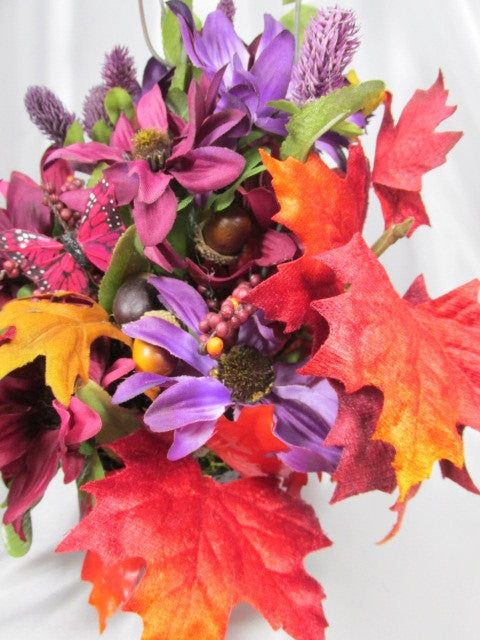 Bright Red Orange and Purple silk Floral Arrangement - Odyssey Creations