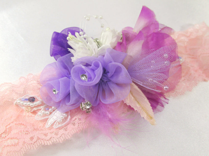 Radiant Orchid Beaded Stretch Headband in Pink Peach, Purple, Violet, and Lavender - Odyssey Creations