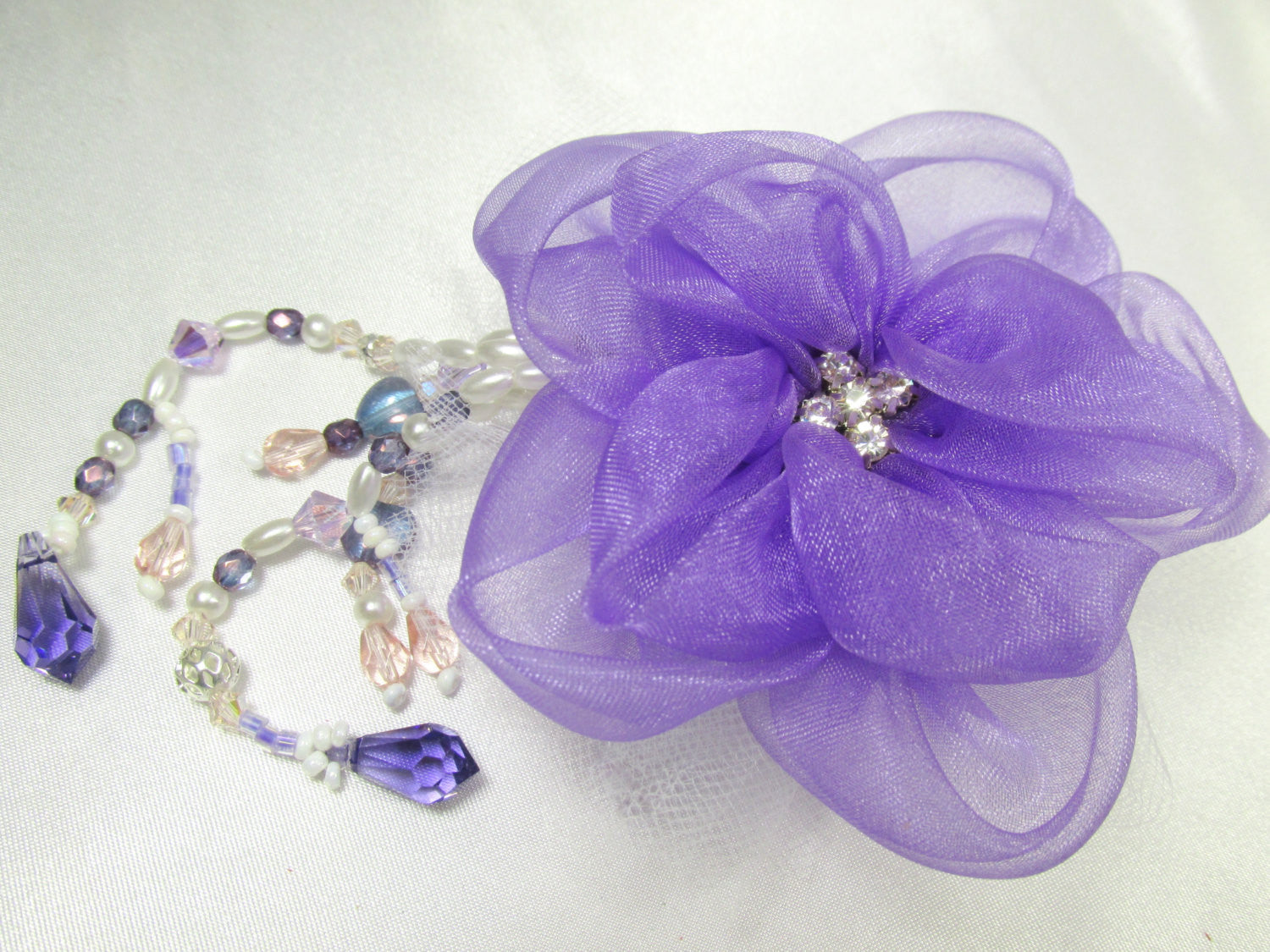 Radiant Orchid Silk Organza Flower Hair Clip or Brooch with Swarovski Teardrops - Odyssey Creations