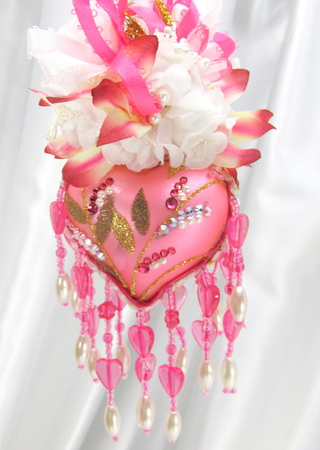 Hot Raspberry Pink and White Heart Beaded Victorian Ornament with Swarovski Crystals - Odyssey Creations