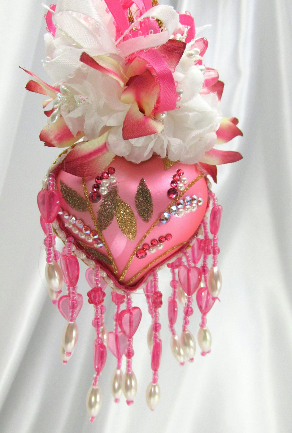 Hot Raspberry Pink and White Heart Victorian Beaded Ornament - Odyssey Creations