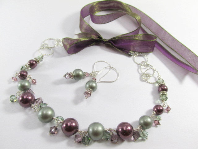 Swarovski Pearl Necklace and Earring Set in Powder Green, Burgundy with Amethyst and Chrysolite Crystals - Odyssey Creations