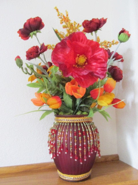 Tuscany Fiesta Poppies with Goldenrod, Lilies and Tulips Silk Victorian Floral Arrangement - Odyssey Creations