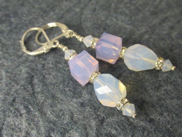 White Opal Swarovski 8mm Faceted Cubes and White Opal Czech Beads on Sterling Silver - Odyssey Creations