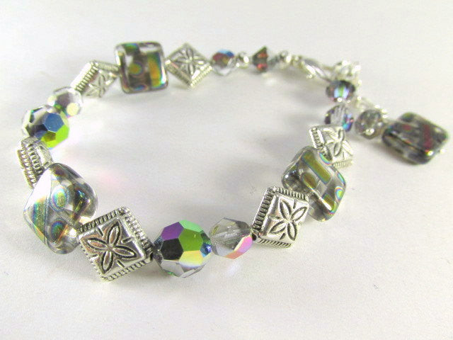 Geometrically Multicolor Czech Glass Peacock Bracelet with Silver Accents - Odyssey Creations