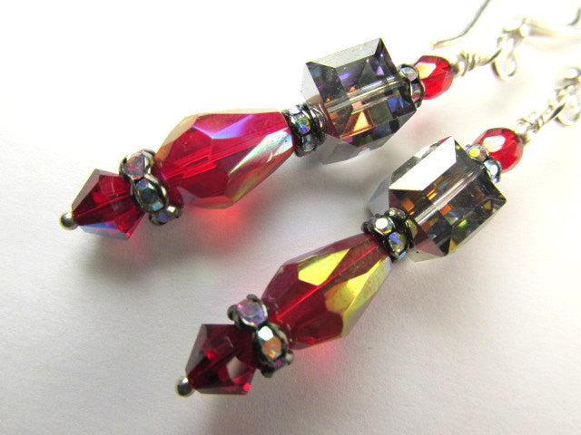Blue Meredian, Dark Red and Silver Swarovski Cube Earrings on Sterling silver wires - Odyssey Creations