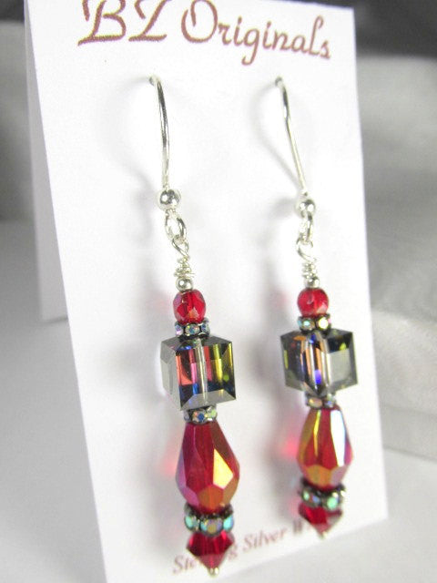 Blue Meridian, Dark Red Swarovski Cube Earrings - Odyssey Creations