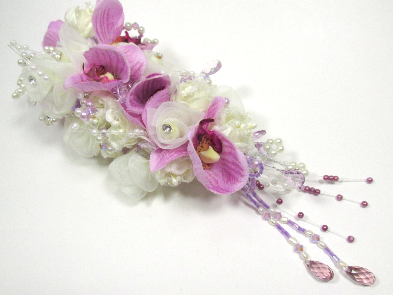 Bridal Hair Clip in Lavender and Cream with Austrian Crystal Briolette Drops - Odyssey Creations