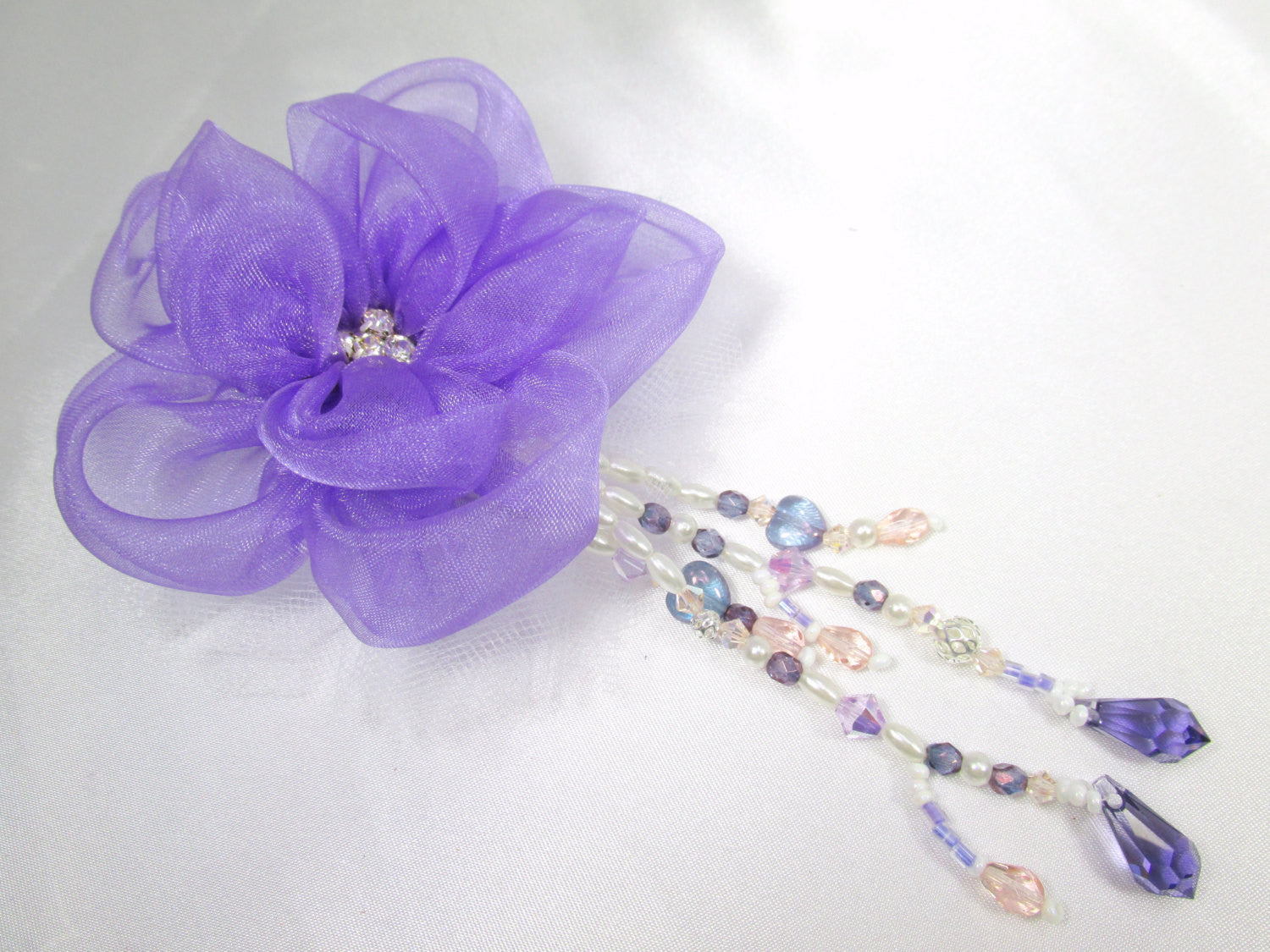 Purple Radiant Orchid Silk Organza Flower Fascinator or Brooch with Swarovski Teardrop Beaded Fringe - Odyssey Creations