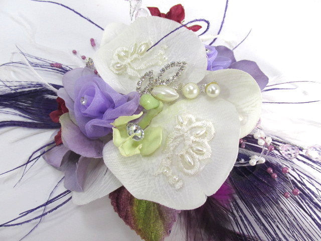 Radiant Orchid Wrist Corsage in Off White, Lavender, Violet with Purple Peacock Feathers - Odyssey Creations