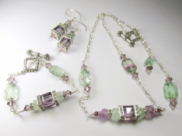 Plum Purple and Light Green Fluorite Semiprecious Stone Swarovski Crystal Cube Geometric Bracelet - Odyssey Creations