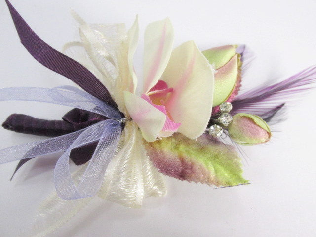 Ivory Orchid Boutonnierre or Wrist Corsage in Radiant Orchid Purple, Lavender, Violet and Green - Odyssey Creations