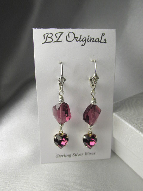 Swarovski Purple Amethyst Cosmic Crystal and Heart Sterling Silver Earrings - Odyssey Creations