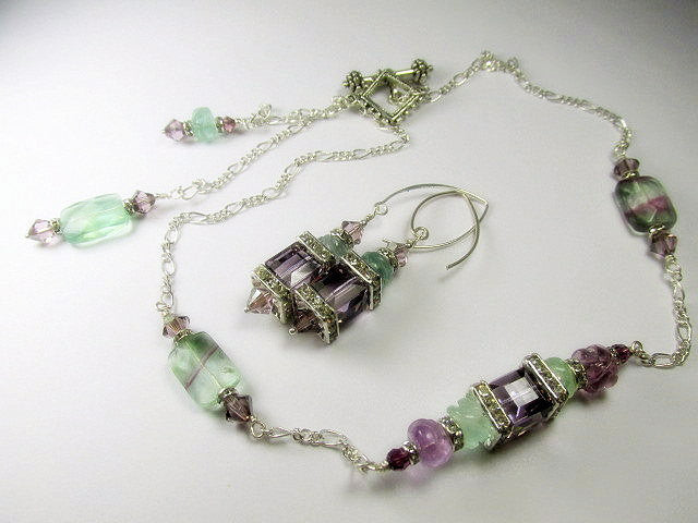 Plum Purple and Light Green Fluorite Swarovski Cube Geometric Bracelet - Odyssey Creations
