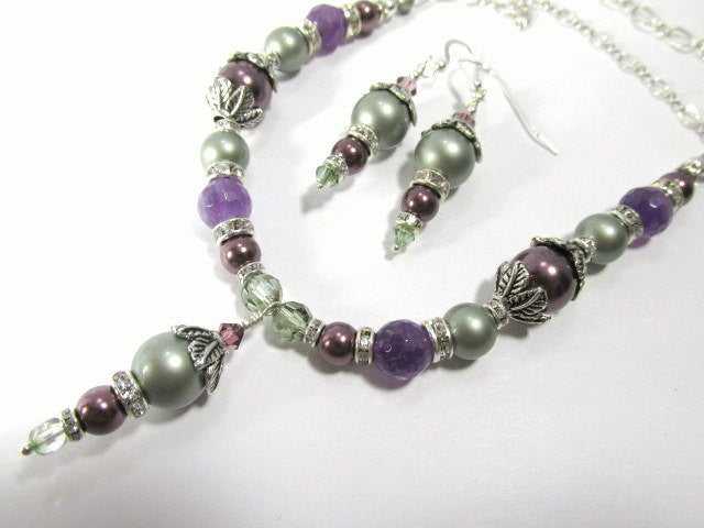 Powder Green and Plum Purple Amethyst Necklace and Earring Set - Odyssey Creations
