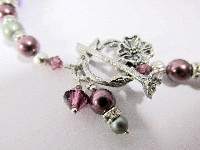 Burgundy and Powder Green Swarovski Pearls with Swarovski, and Fluorite and Amethyst Stones - Odyssey Creations