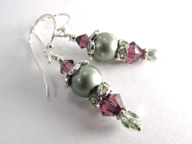 Bridesmaid Earrings in Swarovski Powder Green Pearls and Amethyst Crystals - Odyssey Creations