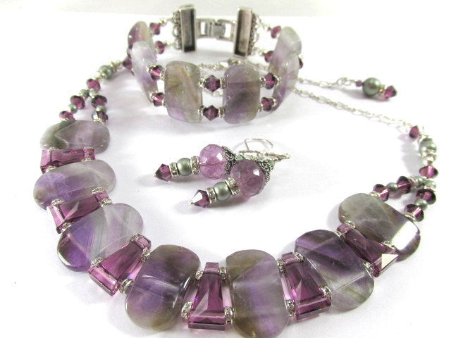 Amethyst and Fluorite Semiprecious Stone Chunky Purple and Green Necklace and Earring Set - Odyssey Creations