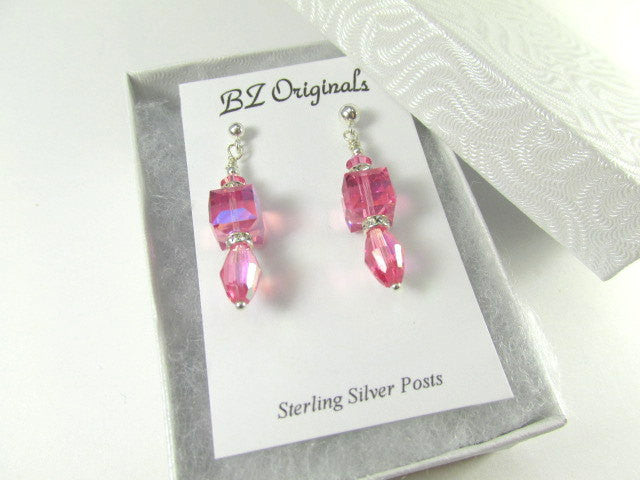 Dainty Pink Swarovski Rose 8mm Faceted Cube Earrings on Sterling Silver Posts - Odyssey Creations