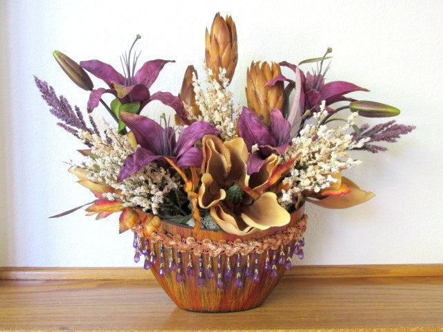 Purple and Gold Fall, Autumn or All Season Victorian Silk Floral Arrangement with Lilies and Magnolias - Odyssey Creations