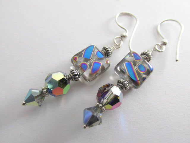 Geometrically Multicolor Czech Glass Peacock and Swarovski Earrings with Silver Accents - Odyssey Creations