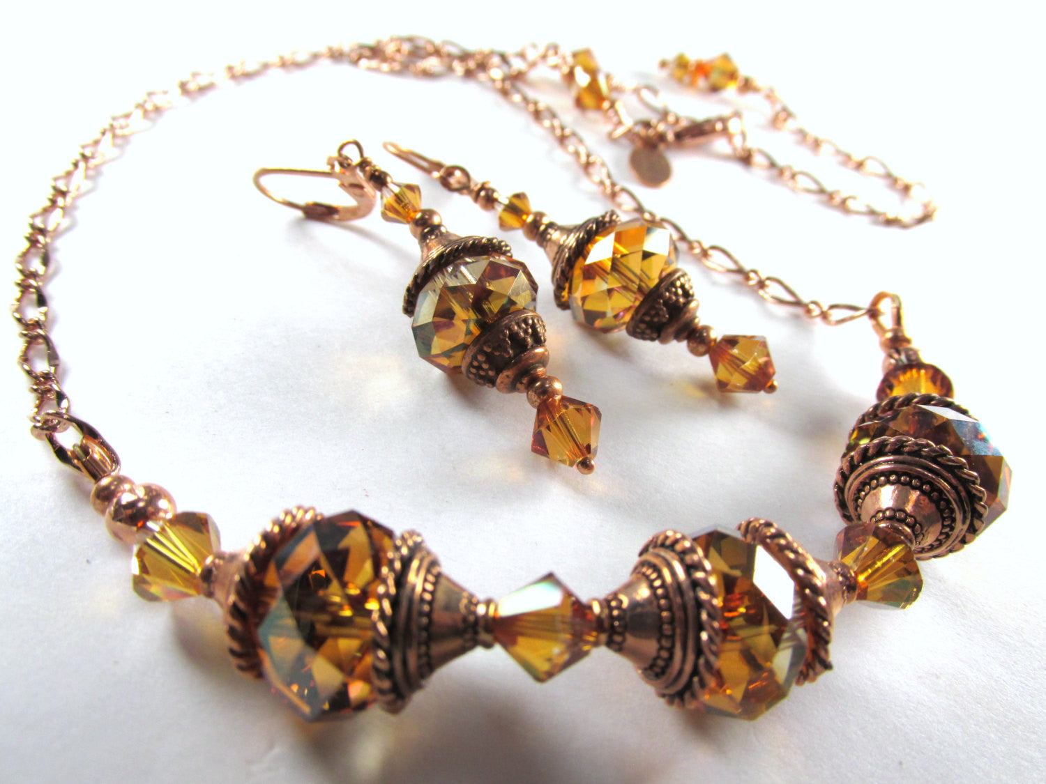 Swarovski Crystal Copper Rust Necklace and Earring Matching Set in Copper - Odyssey Creations