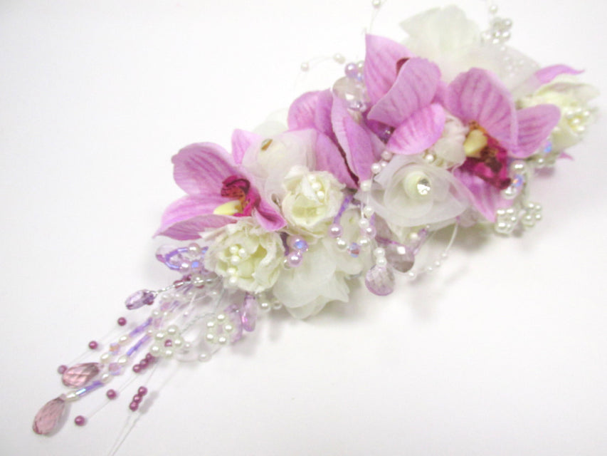 Radiant Orchid Large Beaded Silk and Bridal Hair Clip in Lavender and Cream with Swarovski Beaded Accents - Odyssey Creations