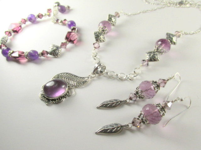 Lavender Amethyst and Fluorite Semiprecious Stone Necklace and Earring Set on Leaf Motiff Bali Antique Sterling Silver - Odyssey Creations