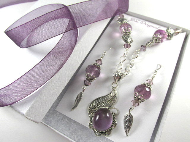 Lavender Amethyst and Fluorite Semiprecious Stone Necklace and Earring Set - Odyssey Creations
