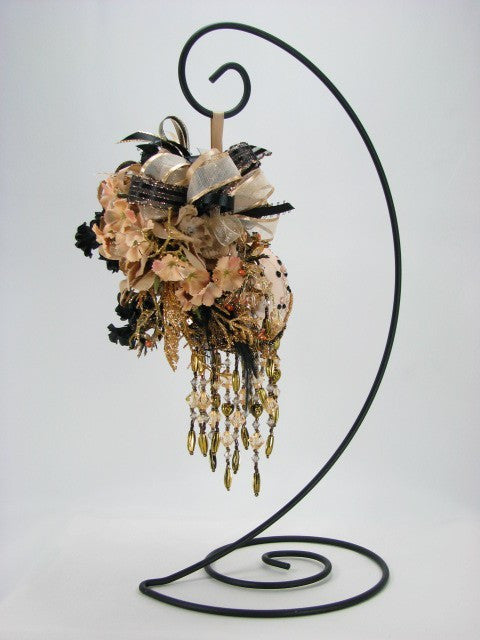 Spiral Base Large Ornament Stands in Black, Silver, Antique Gold, or Brass - Odyssey Creations