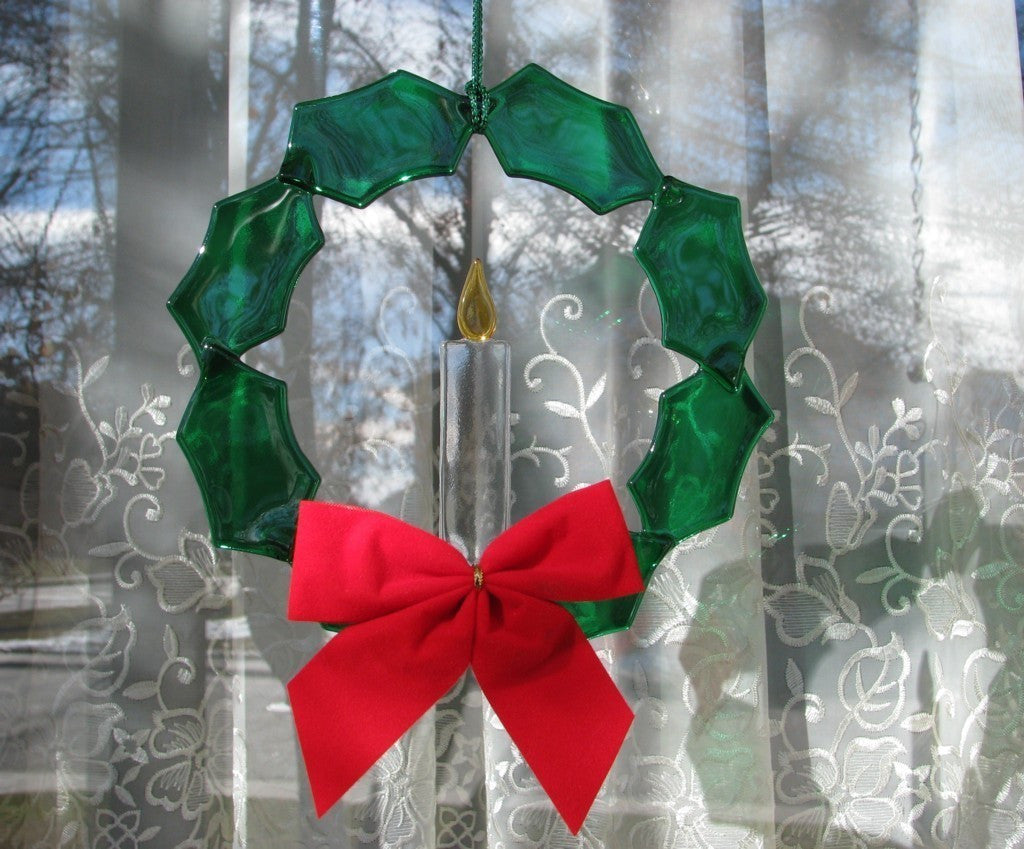 Stained Glass Fused Green and Red Christmas Wreath for Window Decoration or Suncatcher - Odyssey Creations