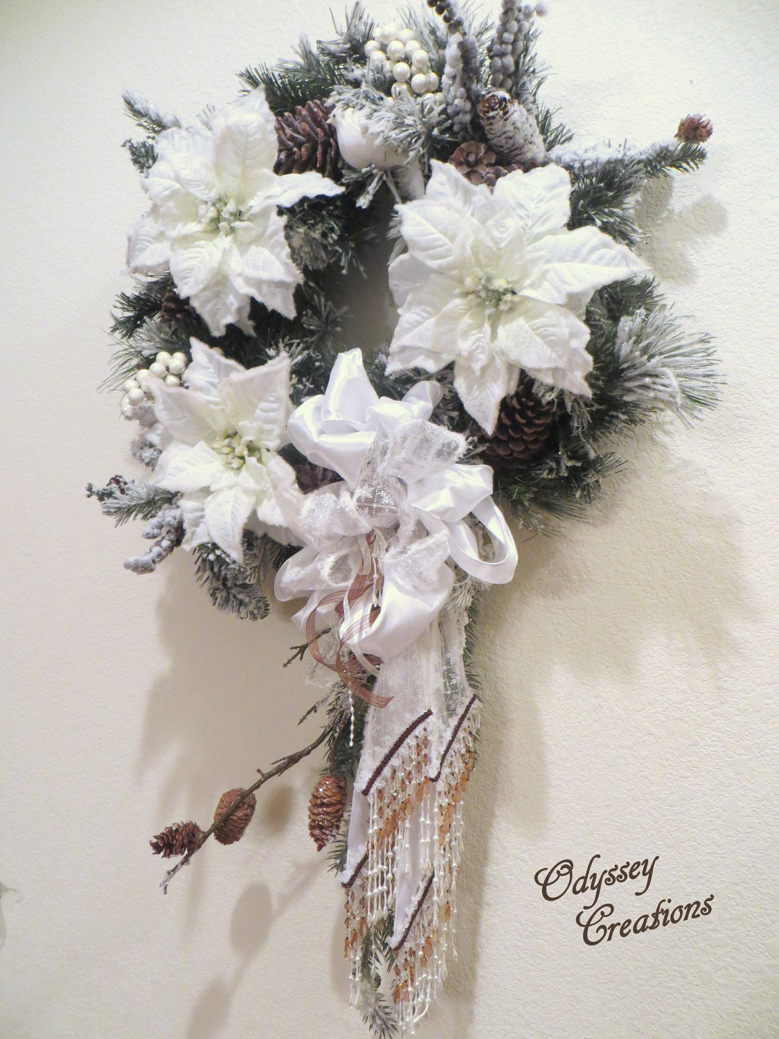Colorado Inspired Beaded White Victorian Snowy Christmas or Winter Bridal Wreath - Odyssey Creations