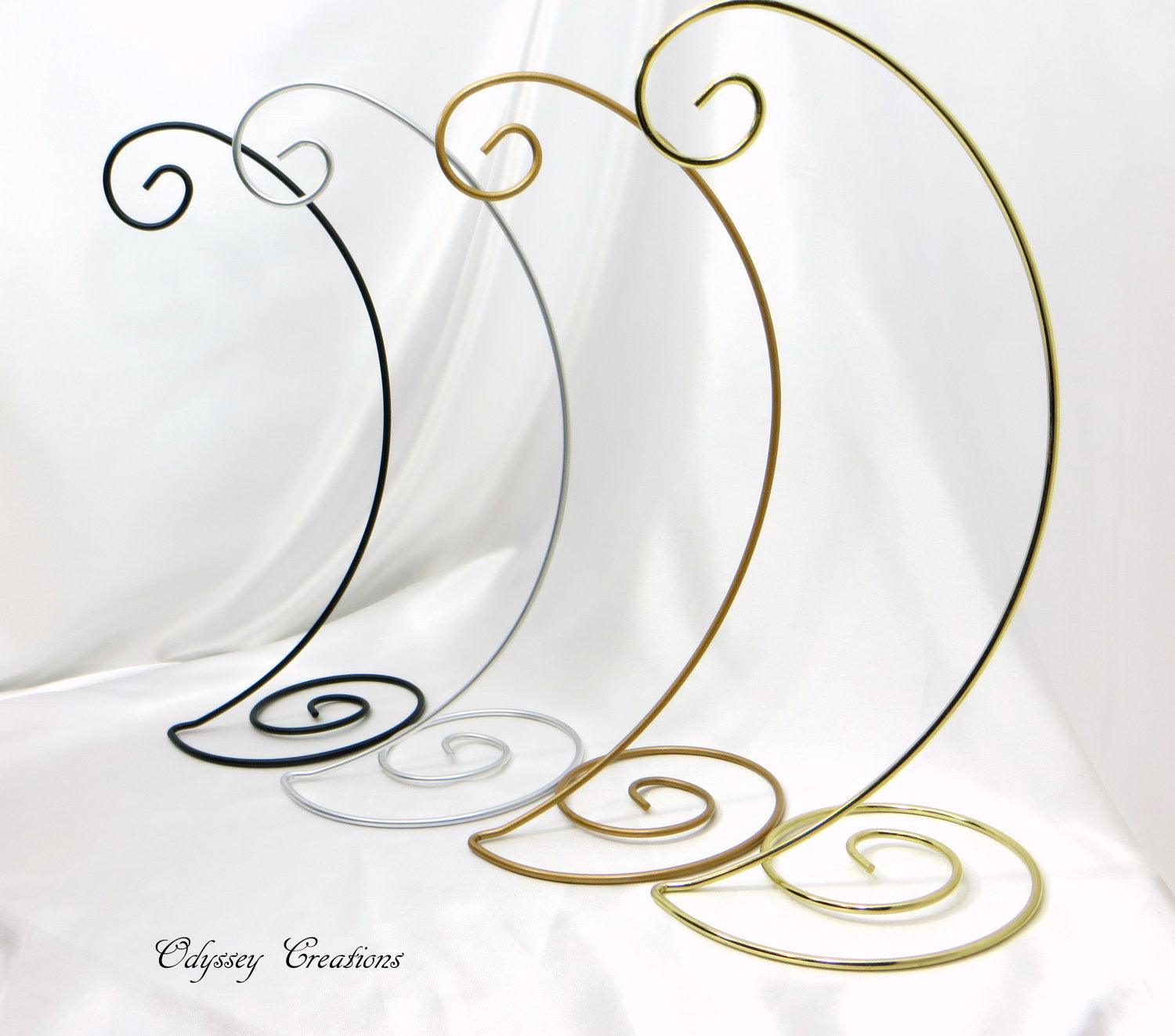 Spiral Base Large 13 Inch Tall Ornament Stands in Antique Gold Matte or Bright Gold Brass - Odyssey Creations