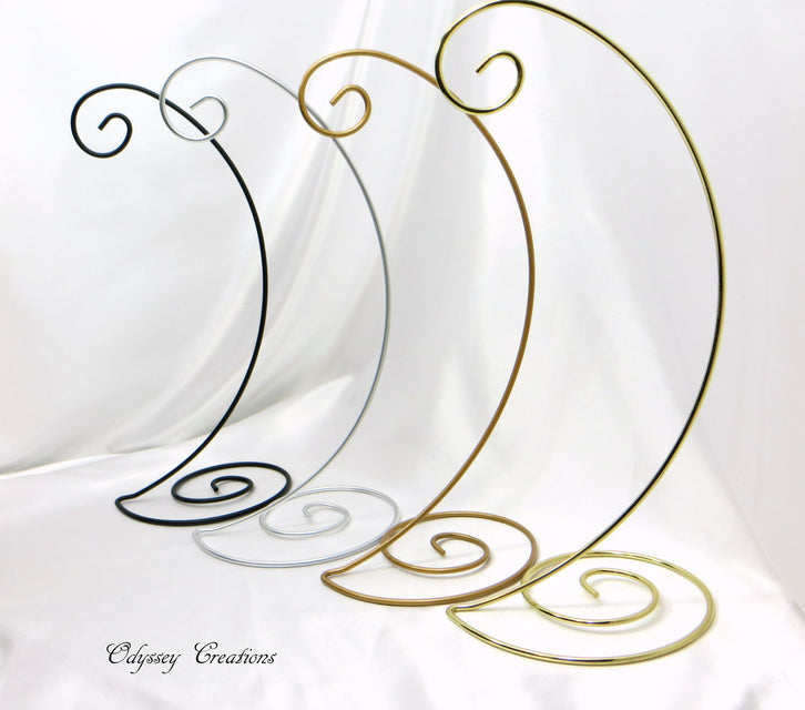 Large Spiral Ornament Stands in Black, Silver, Antique Gold, or Brass - Odyssey Creations