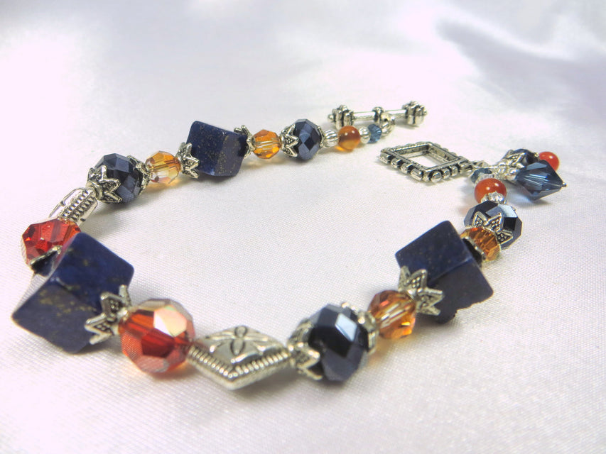 Blue Sodalite Stone Cubes and Red Orange Chili Pepper Swarovski Crystals Bracelet in  in Silver with charms - Odyssey Creations