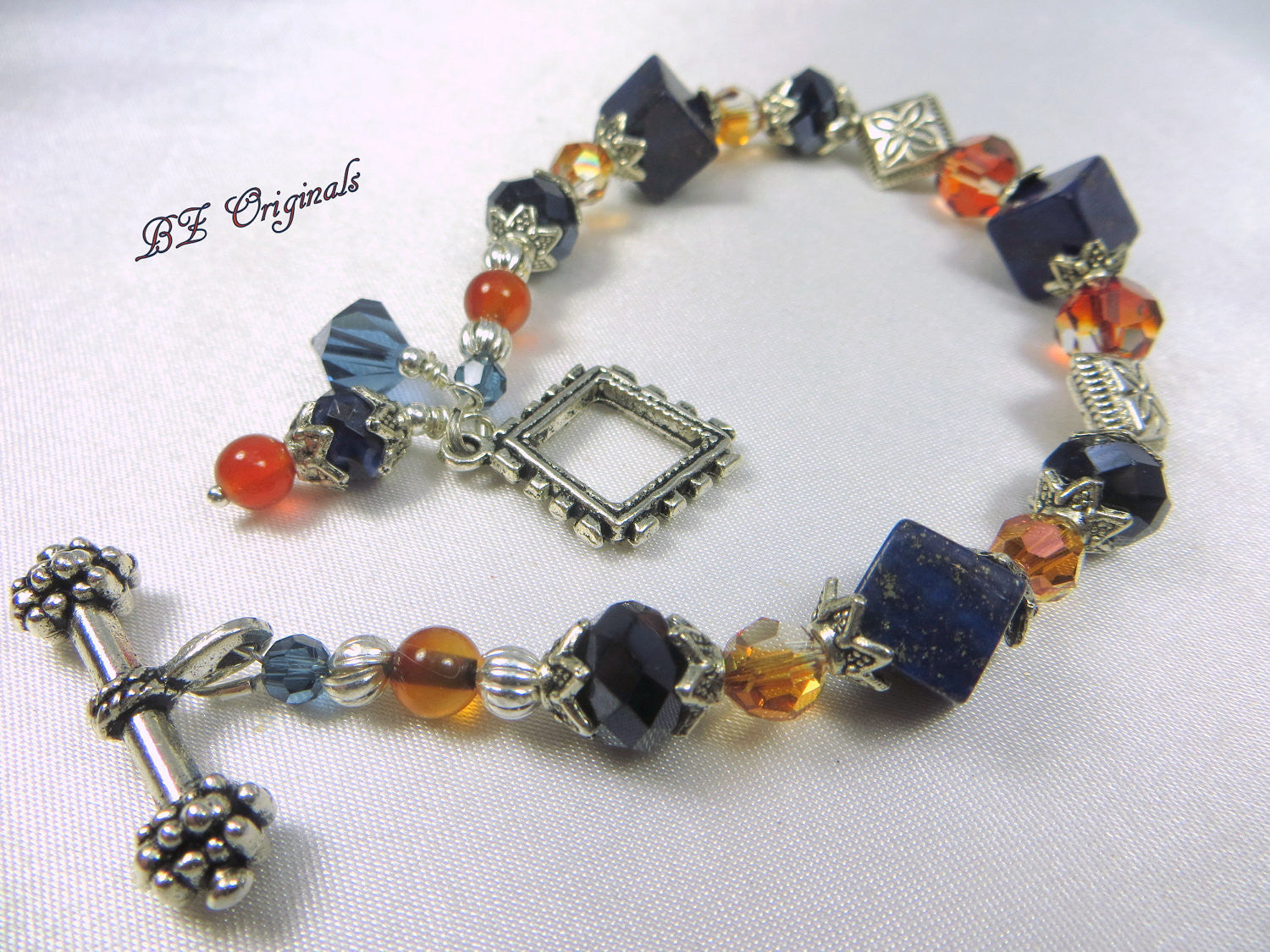Blue Sodalite Stone Cubes with Swarovski Chili Pepper Crystal Bracelet - Odyssey Creations