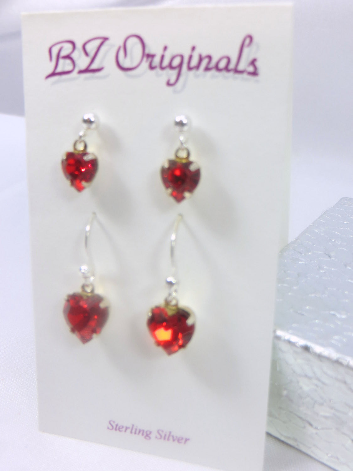 Two Pair Marsala Red Swarovski Heart Earrings on Sterling Silver - Odyssey Creations