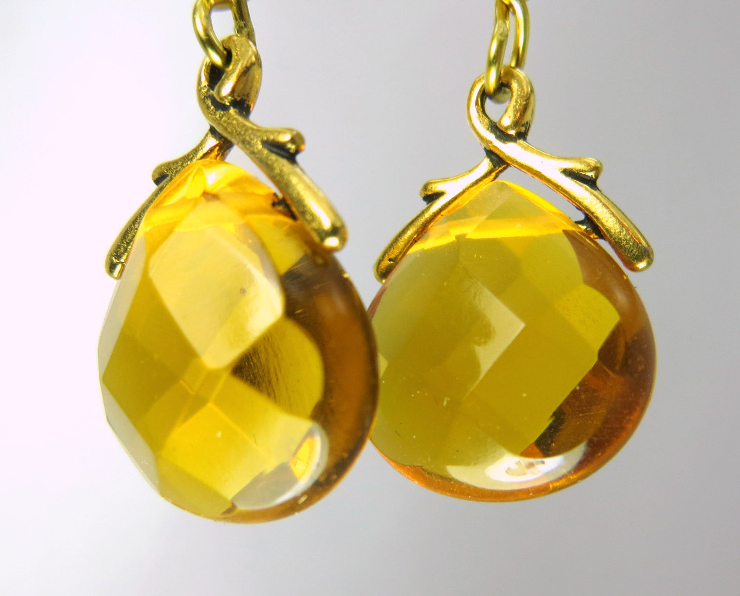Gold Faceted Briolette Quartz Drops Earrings on 22k Gold Vermeil wires - Odyssey Creations