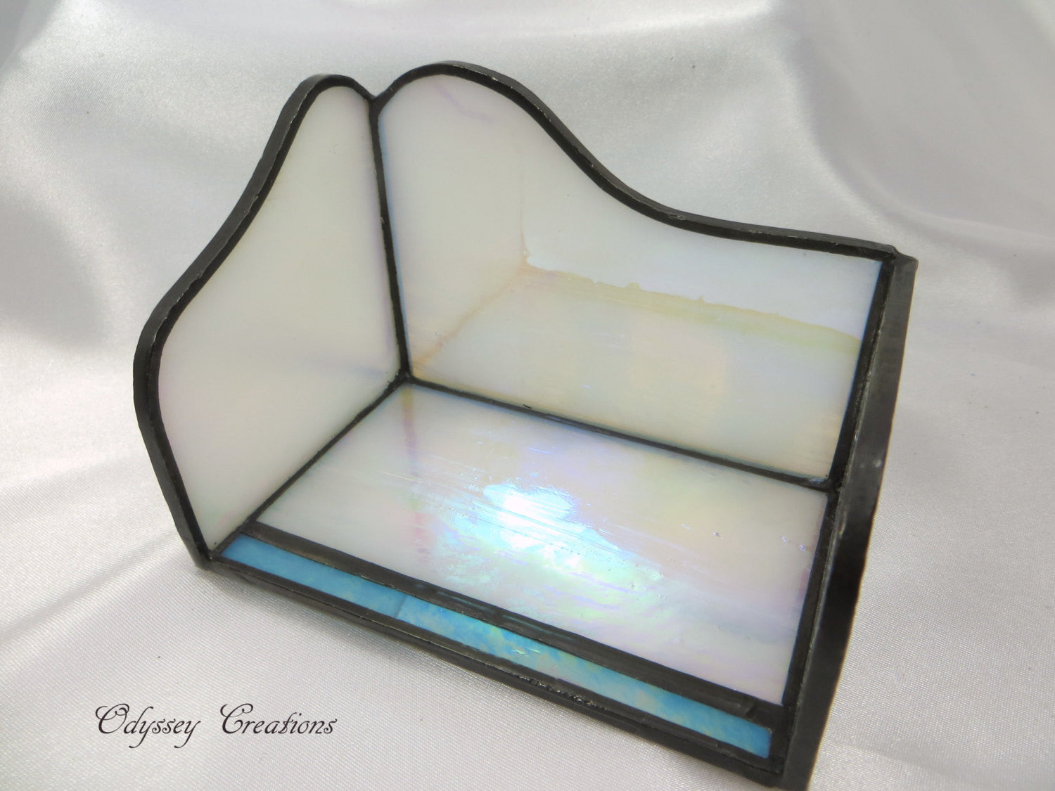 White and Aqua Stained Glass Business Card Holder - Odyssey Creations